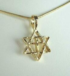 18quot; Star Of David W Cross Necklace In 18K Gold Plated LIFETIME WARRANTY $17.99