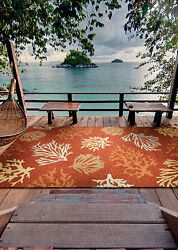 8x11 Tropical Beach Coral Reef Terracotta Rust Outdoor Area Rug