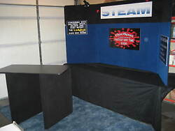 Radius home show exhibit display two lights carpet and wheeled storage box