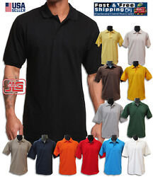 Men's Classic Polo Style 100% Cotton Blended Short Sleeve Solid Pique Polo Shirt $13.99