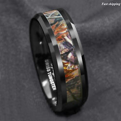 Black Tungsten Men's Red Forest Camouflage Camo Hunting ATOP Band Ring Size 6-13