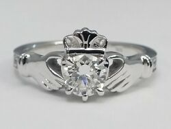 0.90 Carat Total Weight Round Diamond Claddagh Engagement Ring