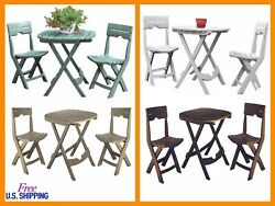 Patio Bistro Set Folding Resin Outdoor Chair Garden Small Dining Table Oval Cafe