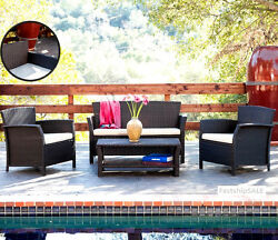 Beautiful Outdoor Patio Sofa 4 PC Sectional Wicker Gift Dining Furniture Set New