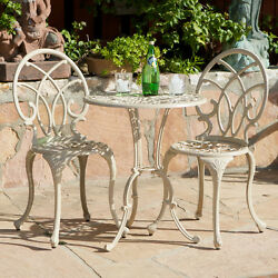 Patio Table Chairs Set Ivory Iron Furniture Balcony Pool Bistro Antique Vintage