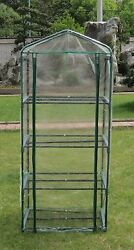 Small 4-tier Portable Greenhouse with Four Steel Shelves and Clear PVC Cover