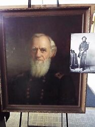 Civil War General R.W. Johnson -Large Original Oil Painting Bible and his Cane