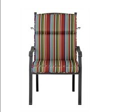 Outdoor Patio Dining Chair Cushion Seat Back Replacement Red Blue Green Stripe