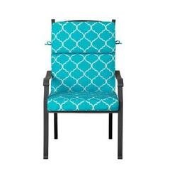 Outdoor Patio Dining Chair Cushion Seat Back Replacement Blue Geometric Trellis