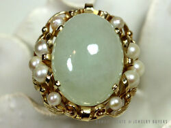 MING'S HAWAII LARGE GREEN JADE PEARL 14K YELLOW GOLD RING (SZ 6.75) MINGS JADE