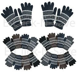 WHOLESALE LOTS MEN WOMEN MAGIC WINTER SNOW SPORT WARM KNITTED DARK GLOVES DOZEN