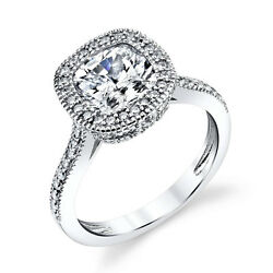 925 Sterling Silver Engagement Wedding Ring Cushion Cut CZ Center Stone Solitare