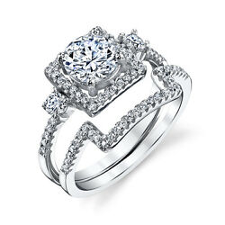 925 Sterling Silver Square band CZ Engagement Wedding Ring Set Cubic Zirconia