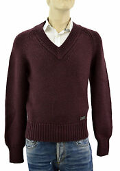 $695 BURBERRY Brit Burgandy V Neck METAL LOGO Mens Wool Cashmere Sweater Size M