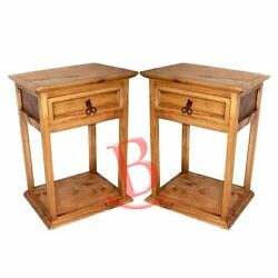 Two Rustic Promo Nightstands Solid Wood Western Lodge Cabin Bedside Table
