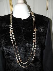 CHANEL PEARL NECKLACE VINTAGE 1980's GOLD TONE BALLS AND CHAINS CC LOGO RARE