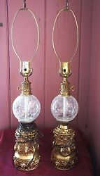 DECORATIVE TALL CRACKLE GLASS LAMPS: SET OF 2 $95.00