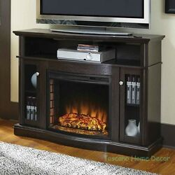 TV Entertainment Center Fireplace Stand Modern Electric Console Unit Media Wood