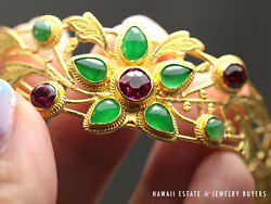 VINTAGE GREEN IMPERIAL JADE  & RUBY 1960'S 22K YELLOW GOLD PLAQUE BRACELET