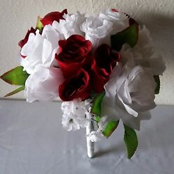 Red White Rose Bridal Wedding Bouquet Package