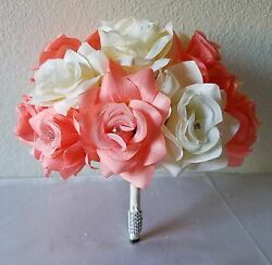 Coral Reef Peach Ivory Rhinestone Rose Bridal Wedding Bouquet Package