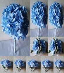Light Blue Rose Bridal Wedding Bouquet Package
