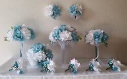 Aqua White Rose Bridal Wedding Bouquet Package