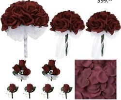 Burgandy Rose Bridal Wedding Bouquet Package