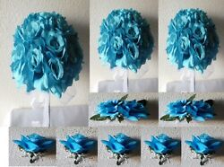 Turquoise Rose Bridal Wedding Bouquet Package