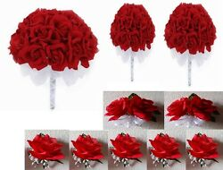 Red Rose Bridal Wedding Bouquet Package