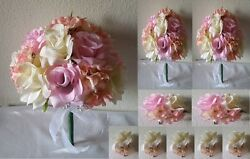 Light Pink Ivory Rose Hydrangea Bridal Wedding Bouquet Package