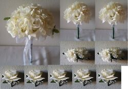 Ivory Rose Bridal Wedding Bouquet Package