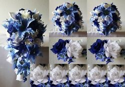 Royal Blue Ivory White Rose Tiger Lily Cascading Bridal Wedding Bouquet Package