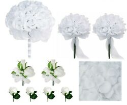 White Rose Bridal Wedding Bouquet Package