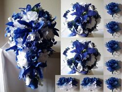 Royal Blue White Rose Tiger Lily Cascading Bridal Wedding Bouquet Package
