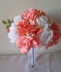 Peach White Rose Hydrangea Bridal Wedding Bouquet Package