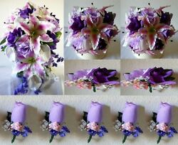 Purple Lavender Fuchsia Rose Tiger Lily Cascading Bridal Wedding Bouquet Package