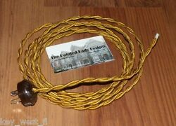 GOLD 8#x27; Vintage Lamp Cord Twisted Cloth Covered Wire w Oak Leaf Plug $14.30