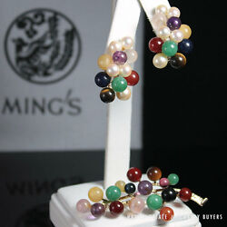 MING'S HAWAII 14K YELLOW GOLD RARE MULTI-COLOR GEMSTONE EARRING
