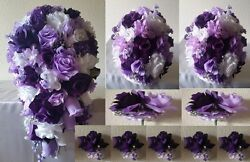 Purple Lavneder White Rose Hydrangea Cascading Bridal Wedding Bouquet Package