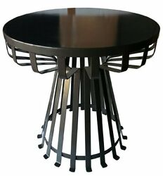Side Tables Flat Iron Base Balconies Indoor Outdoor Patio Yard Powder Coated New