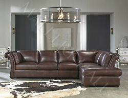 Vintage Rustic Brown Distressed Leather Sectional