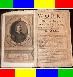 1692 Antique THE WORKS OF JOHN BUNYAN+MAP Bible Pilgrim's Progress Puritan Jesus