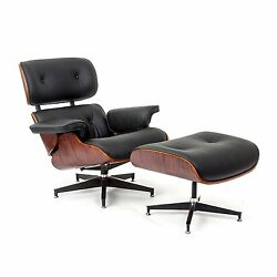 Eames Style Rosewood  Lounge Chair and Ottoman Set in Black Top Grain Leather