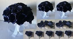 Navy Blue Rose Bridal Wedding Bouquet Package