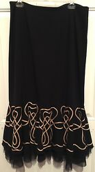 SUNNY LEIGH~BLACK SKIRT~Embellished Netted BOTTOM RUFFLE Flounce Size 12