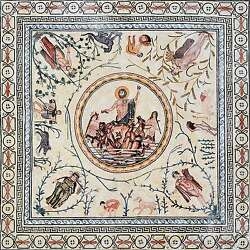 Neptune and the Four Seasons Mosaic Art Tile Floor Inlay or Wall Mural