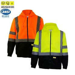 High Visibility Class 3 Hi-Vis Sweatshirt Full Zip Hooded Black Bottom-H901112