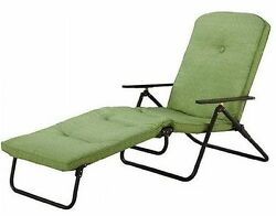 Folding Chaise Lounge Chair Outdoor Patio Pool Furniture Steel Frame w Cushion