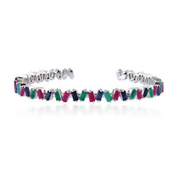 1.13ct Emerald 18kt White Gold Ruby Sapphire Cuff Bracelet Girl's Gift Jewelry